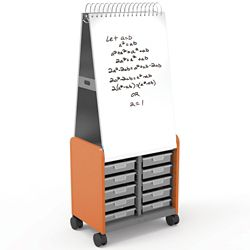 "29""W x 71""H Mobile Whiteboard with Doored Storage Cabinet"