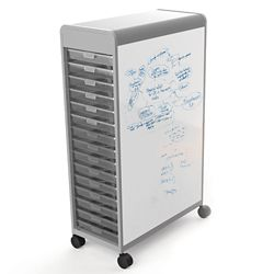 30 Tote Mobile Two-Sided Whiteboard Storage Unit