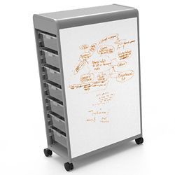 14 Tote Mobile Two-Sided Whiteboard Storage Unit