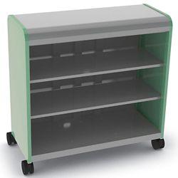 "Mobile Open Three Shelf Storage Cabinet 43""W x 43""H"