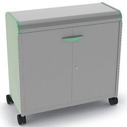 "Mobile Doored Three Shelf Storage Cabinet 43""W x 43""H"