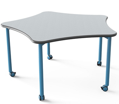 "Five-Point Star Table with Casters - 48"" Diameter"