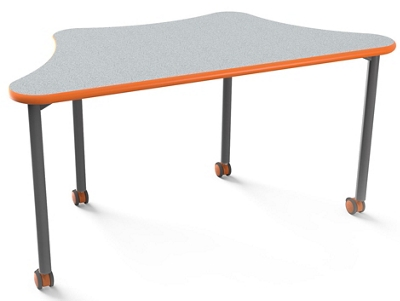 "Trapezoid Mobile Table- 60""W x 30""D"