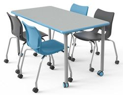 "Rounded Rectangular Table with Casters - 72""W x 30""D"