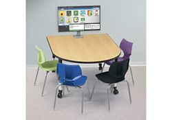 "Adjustable Height Medium Size Media Table with Four Outlets - 60"" x 48"""