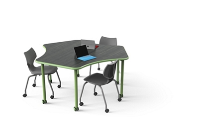 "Sprocket-Shaped Table with Casters - 67""W x 59""D"