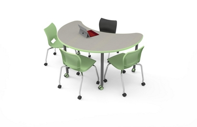 """Moon-Shaped Table with Casters - 41""""W x 60""""D"""
