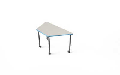 "Trapezoid Table with Casters - 30""W x 60""D"