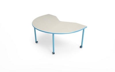 "Kidney-Shaped Table with Casters - 72""W x 48""D"