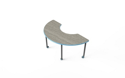 "Half Moon-Shaped Table with Casters - 41""W x 60""D"
