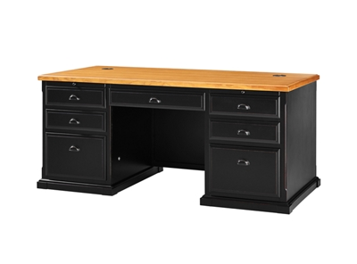 "Distressed Black and Oak Executive Desk - 69""W"