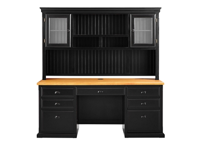 "Distressed Black with Oak Top Desk with Hutch - 69""W"