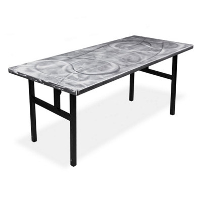 "Aluminum Swirl Table with H Legs -  72"" x 30"""