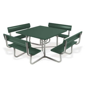 Picnic Table With Backrests And Umbrella Hole Square And - Picnic table with backrest
