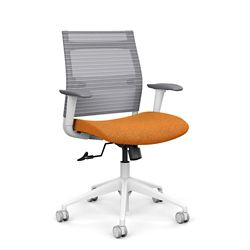 Wit Mid-Back Task Chair w/White Frame