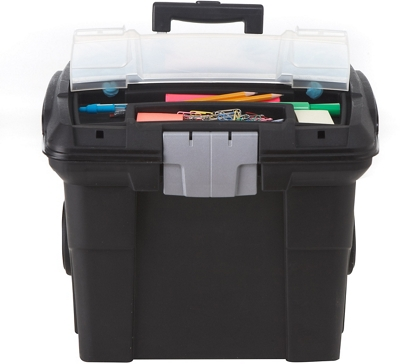 """Portable Letter-Sized File Box on Wheels - 16""""W"""