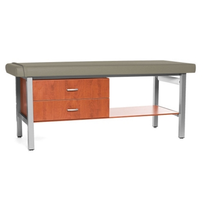 H Brace Treatment Table with Drip-Edge and Shelf and Drawers