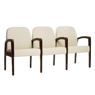 """Vinyl Guest Three Seater with Center Arms and 21""""W Seats"""