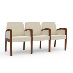 Behavioral Health Vinyl Three-Seat Guest Chair with Center Arms