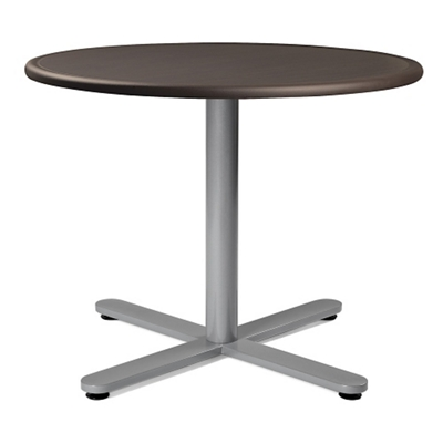 """Flat X-Base Dining Table with Bullnose Edging - 36""""DIA"""