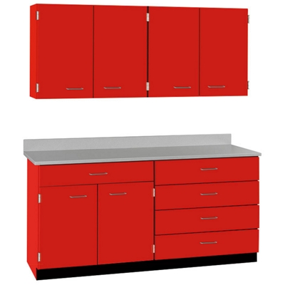 "Five Drawer, Six Door Wall and Base Cabinet Set - 60""W"