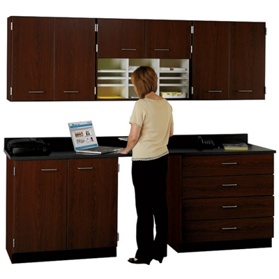 """90"""" W Cabinet Set with Standing Height Workstation"""