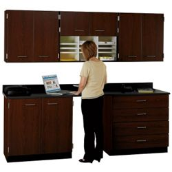"90"" W Cabinet Set with Standing Height Workstation"