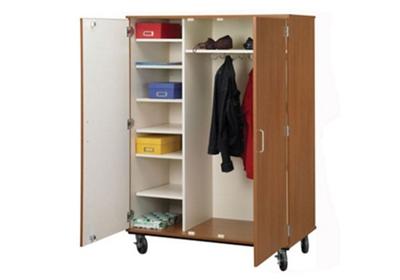 "Lockable Seven Shelf Mobile Teacher Wardrobe Cabinet - 67""H"