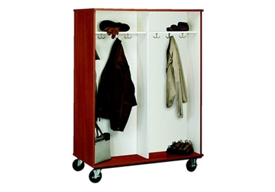 """Double-Sided Four Compartment Mobile Coat Cabinet - 67""""H"""