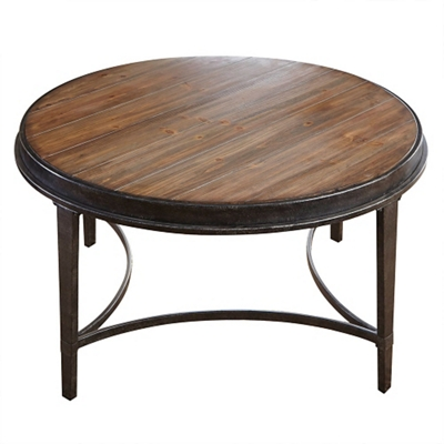 """Round Coffee Table with Metal Base - 36""""W"""