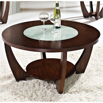 "Round Coffee Table with Glass Insert - 39.5""DIA"