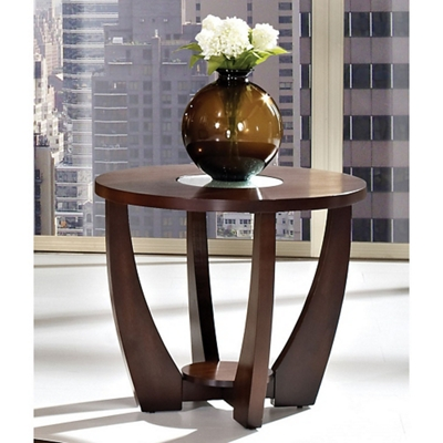 "Round End Table with Glass Insert - 25.5""DIA"