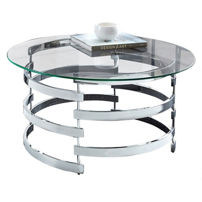 """Lattice Coffee Table with Glass Top - 35""""DIA"""