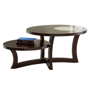 Round Two Tier Coffee Table With Inlaid Gl Accent 48w 46272 And More Lifetime Guarantee