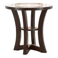 "Round End Table with Inlaid Glass Accent - 24""DIA"