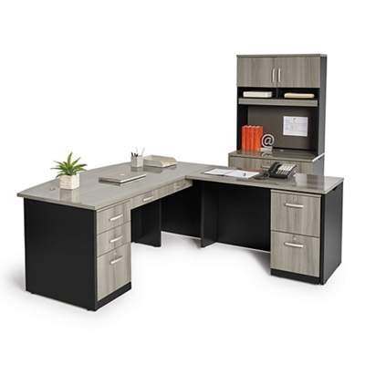 Bowfront L-Desk and Locking Lateral File with Hutch