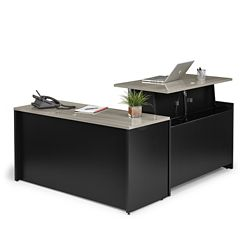 Adjustable Height L-Desk with Reversible Return