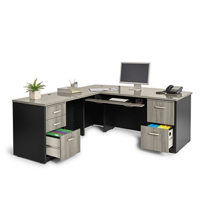 Locking Double Pedestal Executive Bowfront L-Desk