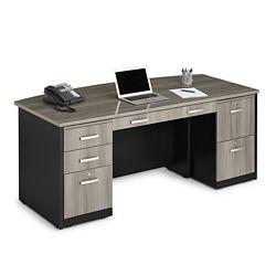 Locking Double Pedestal Executive Bowfront Desk