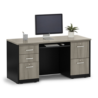 "Locking Double Pedestal Credenza with Keyboard Tray - 60""W"