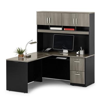 Compact Locking Single Pedestal L-Desk with Hutch
