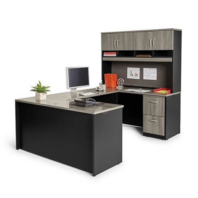 Compact U-Desk with Hutch and Lockable Pedestals
