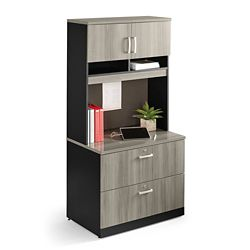Locking Two Drawer Lateral File with Hutch