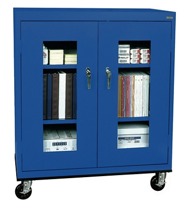 "Mobile Cabinet with ClearView Doors - 46""W x 24""D"