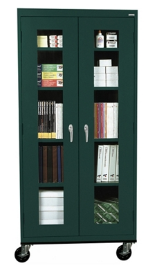 "Five Shelf Mobile Cabinet with ClearView Doors - 36""W x 78""H"