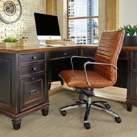 Harper chair with horizontal stitching in saddle brown