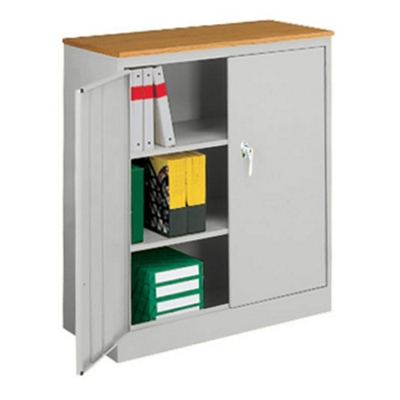 Counter Height Storage Cabinet with Oak Finish Top