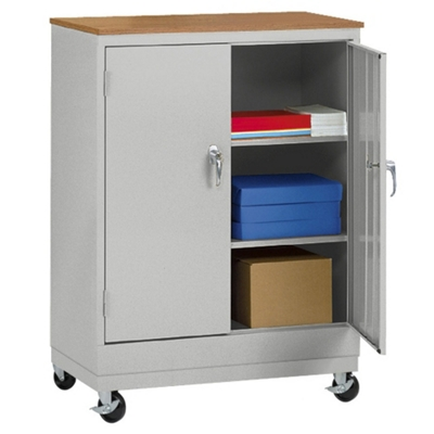 """Mobile Storage Cabinet with Oakgrain Top - 48.75""""H"""