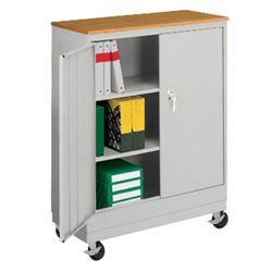 "Mobile Storage Cabinet with Laminate Top - 48.75""H"