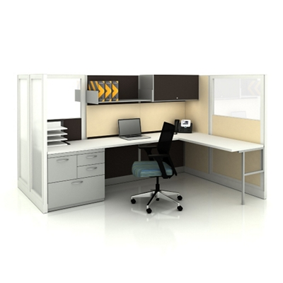 Two Mirrored L-Desk Workstations with Plexiglass paneling